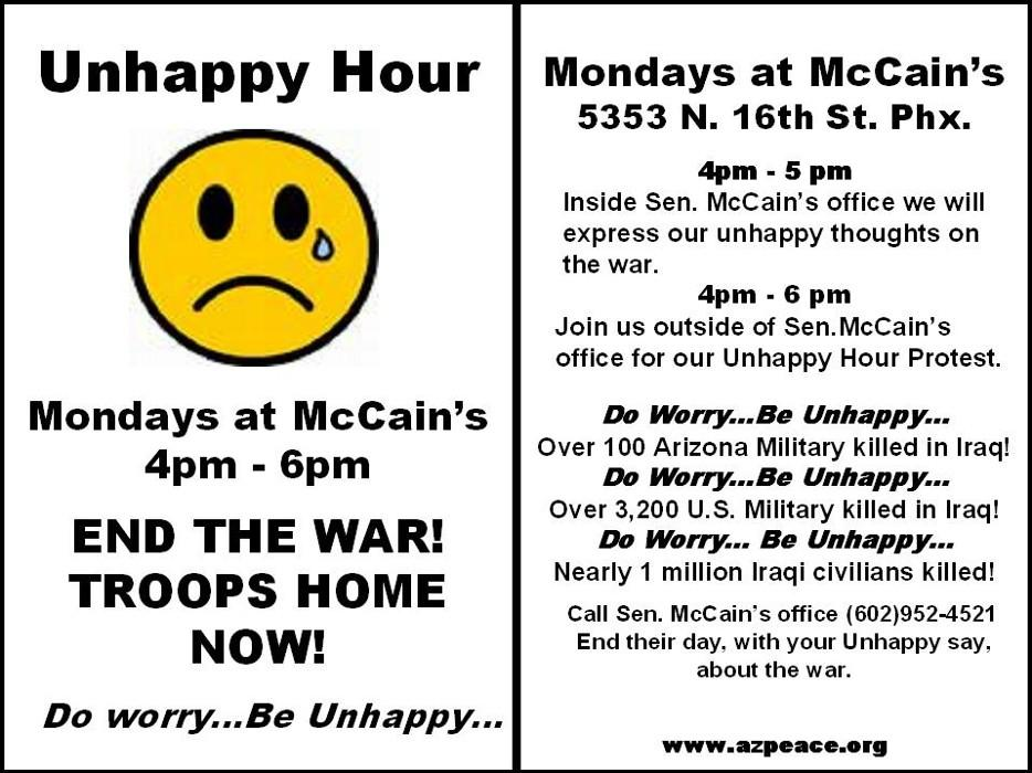 Unhappy Hour at McCain's - Mondays 4 p.m. to 6 p.m. - Do Worry, Be Unhappy!